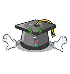 money eye graduation hat mascot cartoon vector image