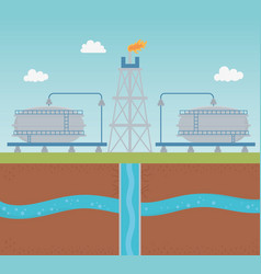 oil pump with water tank extracting process vector image