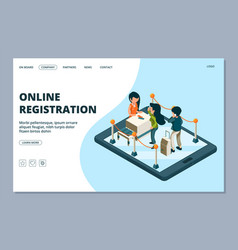 Online registration landing page isometric front vector
