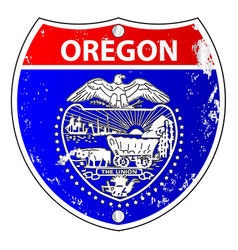 Oregon flag icons as interstate sign vector