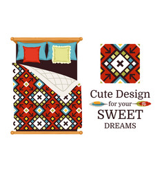 Ornamental pattern sample and bed vector