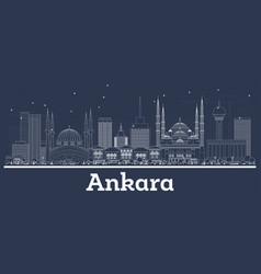 outline ankara turkey city skyline with white vector image