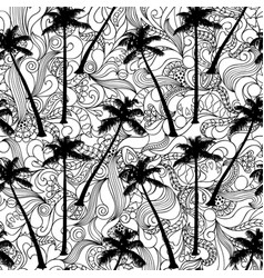 Palm and doodle seamless pattern vector