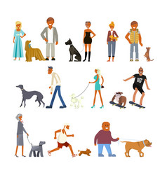 people walking with dogs vector image