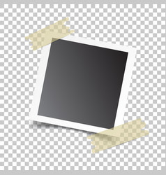 photo frame with adhesive tape on isolated vector image