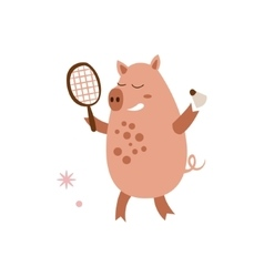 Pig Playing Badminton vector