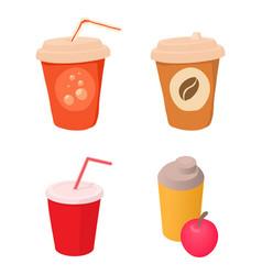 plastic cup icon set cartoon style vector image