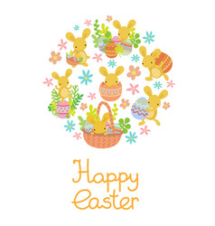 rabbit easter eggs flowers set in circle vector image