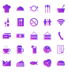 Restaurant gradient icons on white background vector