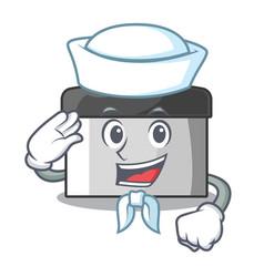 Sailor character pastry scraper in wooden cupboard vector