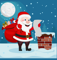 santa claus with a bag of gifts is on the roof and vector image