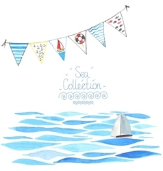 Sea background with sailboat and garland vector
