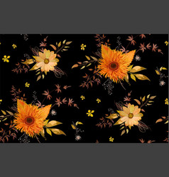Seamless floral pattern of orange yellow gerbera vector