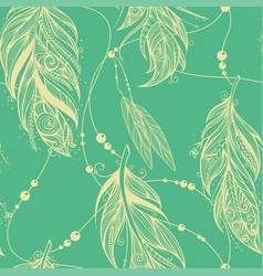 seamless pattern from feathers of birds vector image