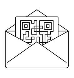 secured envelope letter icon outline style vector image