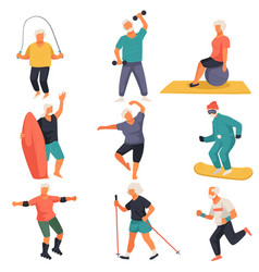 Senior characters leading active lifestyle doing vector