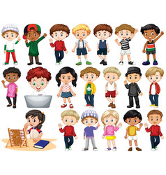 set isolated children in different actions vector image