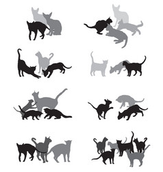 set of group of cats silhouettes vector image