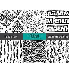 Set of six hand drawn tribal seamless black vector