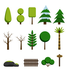 set of trees rocks and game elements vector image