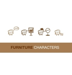 Simple furniture characters vector image
