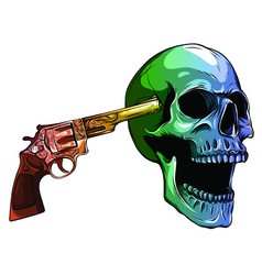 skull aiming with revolver vector image