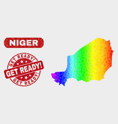 Spectral mosaic niger map and grunge get ready vector