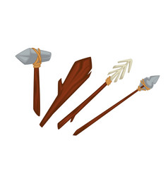 Stone age primitive weapon wood and stone or vector