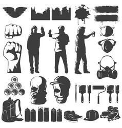Street art black white icons set vector