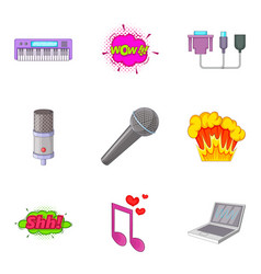 Studio vocal icons set cartoon style vector