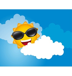 Sun with sunglasses over sky with cloud vector