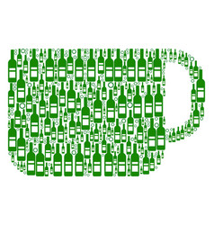 tea cup mosaic of wine bottles vector image