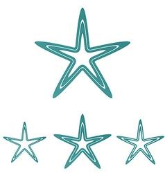 Teal line star logo design set vector