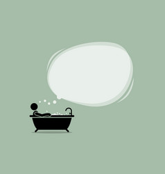 thinking man taking a bath in bathtub with a vector image
