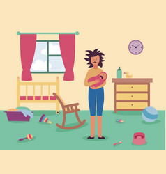 tired woman stands in messy room holding crying vector image