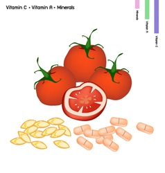 Tomatoes with Vitamin C and Vitamin A vector