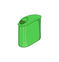 Trash can with lid icon cartoon style vector