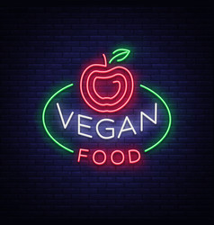 vegan logo neon sign vegan symbol bright vector image