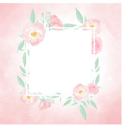 watercolor pink wild rose wreath with frame on vector image