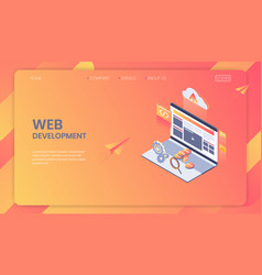 web development isometric concept seo analysis vector image