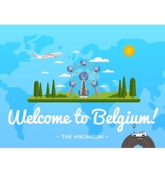 Welcome to Belgium poster with famous attraction vector image
