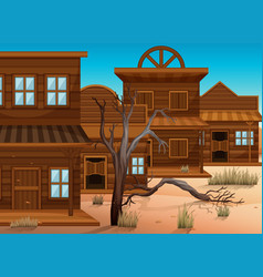 Western styles buildings in town vector