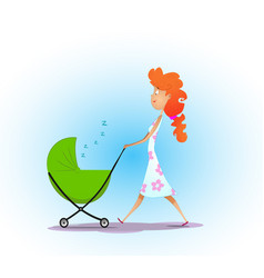 woman pushing baby carriage vector image