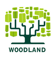 woodland isolated icon tree forest ecology and vector image