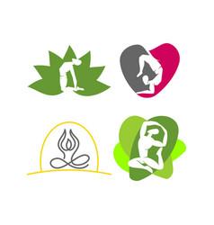 yoga lotus heart logo design emblem meditation set vector image