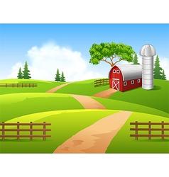 Cartoon of farm background vector