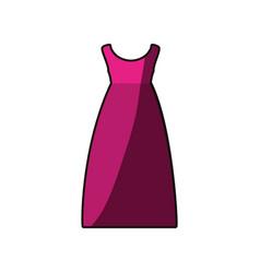 colorful drawing of fuchsia dress eighties retro vector image