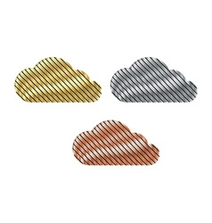 set of clouds of gold silver and bronze diagonal vector image