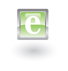 square glossy icon letter e vector image