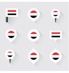 yemen flag and pins for infographic and map design vector image vector image